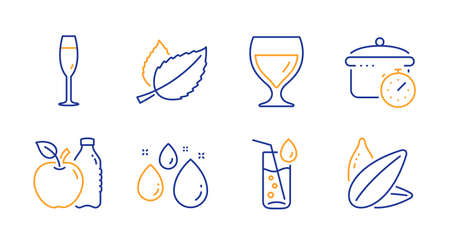 Mint leaves, Wine glass and Boiling pan line icons set. Water glass, Apple and Water drop signs. Sunflower seed symbol. Mentha herbal, Cabernet wineglass. Food and drink set. Vector