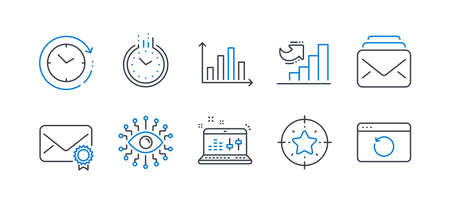 Set of Education icons, such as Star target, Diagram graph, Time, Verified mail, Growth chart, Sound check, Artificial intelligence, Mail, Time change, Recovery internet line icons. Vector