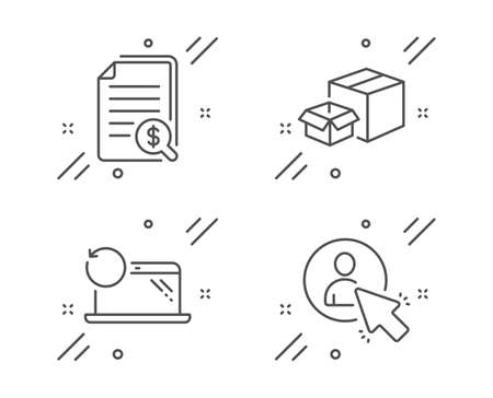 Recovery laptop, Packing boxes and Financial documents line icons set. User sign. Backup data, Delivery box, Check docs. Project manager. Technology set. Line recovery laptop outline icon. Vector