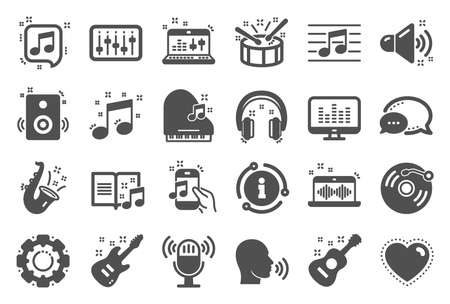 Music icons. Set of Acoustic guitar, Musical note and Vinyl record. Jazz saxophone, Drums with drumsticks and DJ controller icons. Sound check and Jazz, Music making and Electric guitar signs. Vector