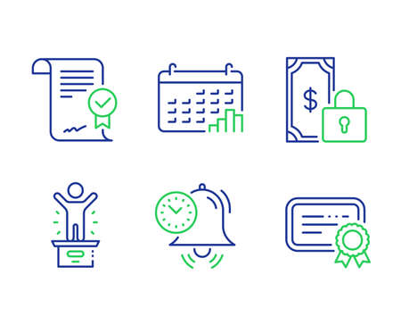 Approved agreement, Time management and Private payment line icons set. Calendar graph, Winner podium and Certificate signs. Verified document, Alarm clock, Secure finance. Annual report. Vector Ilustração
