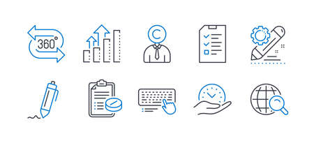 Set of Science icons, such as Analysis graph, 360 degree, Safe time, Interview, Computer keyboard, Project edit, Signature, Copyrighter, Medical prescription, Internet search line icons. Vector Illustration