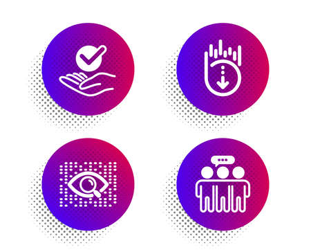 Artificial intelligence, Approved and Scroll down icons simple set. Halftone dots button. Employees group sign. Find data, Verified symbol, Swipe screen. Collaboration. Technology set. Vector
