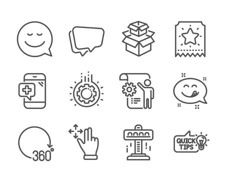 Set of Technology icons, such as Smile, Medical phone, Attraction, Move gesture, Gear, Yummy smile, Education idea, Packing boxes, 360 degrees, Loyalty ticket, Speech bubble line icons. Vector