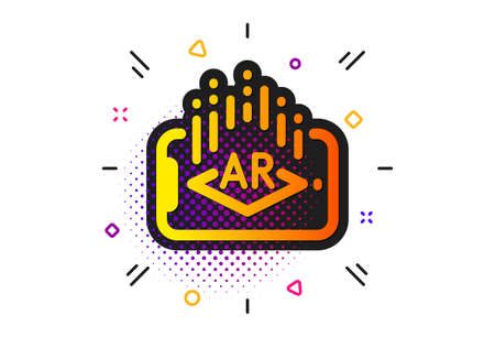 VR simulation sign. Halftone circles pattern. Augmented reality phone icon. 3d view symbol. Classic flat augmented reality icon. Vector