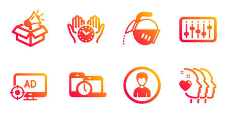 Person, Coffee pot and Dj controller line icons set. Time management, Megaphone box and Seo adblock signs. Safe time, Friends couple symbols. Edit profile, Tea drink. Business set. Vector