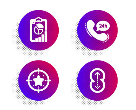Star target, 24h service and Report icons simple set. Halftone dots button. Swipe up sign. Winner award, Call support, Presentation chart. Scrolling page. Technology set. Vector Ilustrace