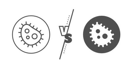 Antibacterial sign. Versus concept. Bacteria line icon. Dirty symbol. Line vs classic bacteria icon. Vector
