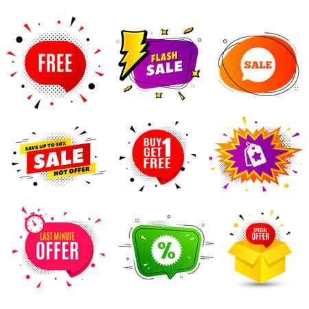 Free symbol. Banner badge, flash sale bubble. Special offer sign. Sale. Last minute offer. Sticker badge, comic bubble. Discounts box. Vector Ilustração