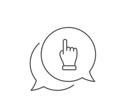 Click hand line icon. Chat bubble design. One finger palm sign. Direction gesture symbol. Outline concept. Thin line click hand icon. Vector Banque d'images - 131465064