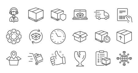 Logistics and Shipping line icons. Truck Delivery, Checklist and Parcel tracking. Cargo linear icon set. Quality line set. Vector
