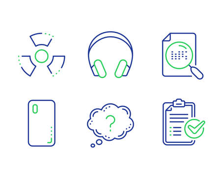 Search file, Smartphone cover and Headphones line icons set. Chemical hazard, Question mark and Survey checklist signs. Find document, Phone, Music listening device. Toxic. Technology set. Vector Ilustração
