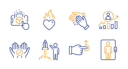 Augmented reality, Medical tablet and Clapping hands line icons set. Career ladder, Drag drop and Launch project signs. Heart flame, Elevator symbols. Phone simulation, Medicine pill. Vector Çizim