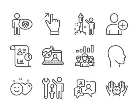 Set of People icons, such as Add user, Touchscreen gesture, Safe time, Online chemistry, Report, Fireworks, Head, Support chat, Cogwheel, Repairman, Smile, Teamwork results line icons. Vector