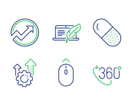 Copyright laptop, Swipe up and Capsule pill line icons set. Audit, Seo gear and 360 degree signs. Writer device, Scrolling page, Medicine drugs. Arrow graph. Science set. Vector