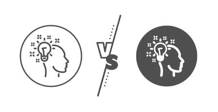 Human head with light bulb sign. Versus concept. Idea line icon. Inspiration symbol. Line vs classic idea icon. Vector Illustration