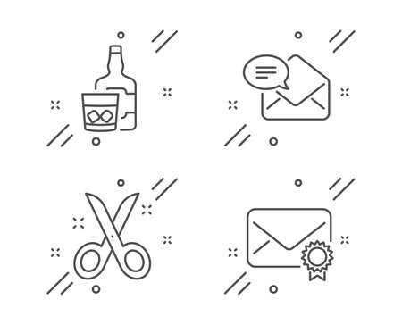 New mail, Whiskey glass and Scissors line icons set. Verified mail sign. Received e-mail, Scotch drink, Cutting tool. Confirmed e-mail. Business set. Line new mail outline icon. Vector Ilustração