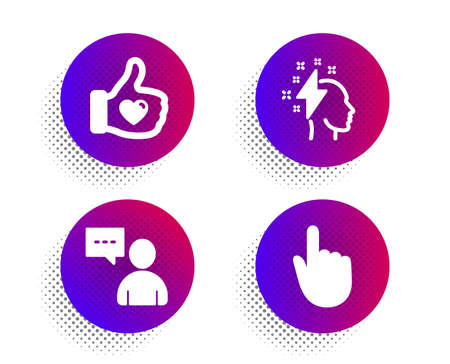 Brainstorming, Like hand and Users chat icons simple set. Halftone dots button. Hand click sign. Lightning bolt, Thumbs up, Communication concept. Location pointer. People set. Vector