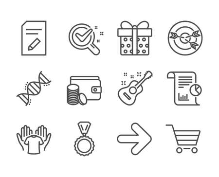 Set of Business icons, such as Report, Gift box, Medal, Edit document, Market sale, Payment method, Targeting, Next, Hold t-shirt, Chemistry dna, Chemistry lab, Guitar line icons. Report icon. Vector Ilustração