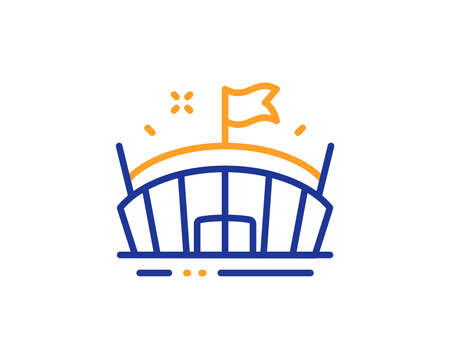 Arena with flag sign. Sports stadium line icon. Sport complex symbol. Colorful outline concept. Blue and orange thin line arena icon. Vector