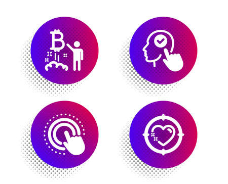 Click hand, Select user and Bitcoin project icons simple set. Halftone dots button. Heart target sign. Touch gesture, Head with checkbox, Cryptocurrency startup. Love aim. People set. Vector 일러스트
