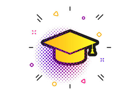 Graduation cap sign icon. Halftone dots pattern. Higher education symbol. Classic flat graduation cap icon. Vector 向量圖像