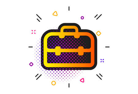 Portfolio symbol. Halftone circles pattern. Business case icon. Diplomat sign. Classic flat portfolio icon. Vector Stock fotó - 131464688