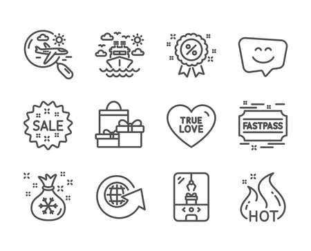 Set of Holidays icons, such as Smile face, Fastpass, Discount, World globe, Sale, Hot sale, True love, Ship travel, Search flight, Santa sack, Crane claw machine, Shopping line icons. Vector Illusztráció