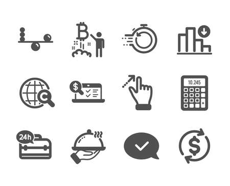 Set of Business icons, such as 24h service, Usd exchange, Fast recovery, International �¡opyright, Online accounting, Balance, Restaurant food, Approved message, Touchscreen gesture. Vector