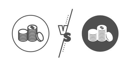 Banking currency sign. Versus concept. Coins money line icon. Cash symbol. Line vs classic banking money icon. Vector Ilustração