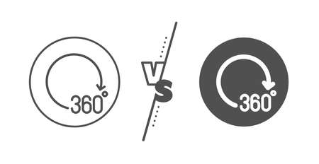 VR simulation sign. Versus concept. 360 degrees line icon. Panoramic view symbol. Line vs classic 360 degrees icon. Vector