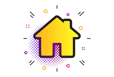 Home sign icon. Halftone dots pattern. Main page button. Navigation symbol. Classic flat home icon. Vector Çizim