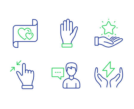 Loyalty program, Touchscreen gesture and Love letter line icons set. Hand, Person talk and Safe energy signs. Bonus star, Zoom out, Heart. Waving palm. People set. Vector