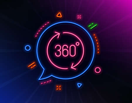 360 degrees line icon. Neon laser lights. VR simulation sign. Panoramic view symbol. Glow laser speech bubble. Neon lights chat bubble. Banner badge with 360 degrees icon. Vector