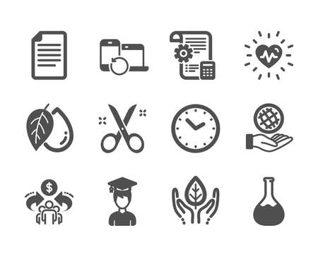 Set of Science icons, such as Mineral oil, Fair trade, Heartbeat, File, Time, Safe planet, Settings blueprint, Scissors, Student, Sharing economy, Chemistry lab, Recovery devices. Vector