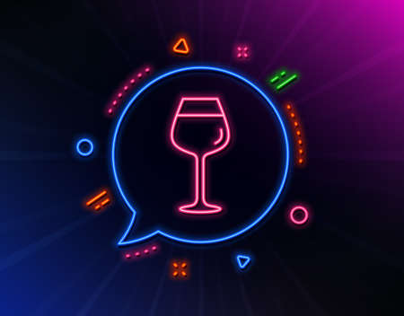 Wine glass line icon. Neon laser lights. Bordeaux glass sign. Glow laser speech bubble. Neon lights chat bubble. Banner badge with bordeaux glass icon. Vector