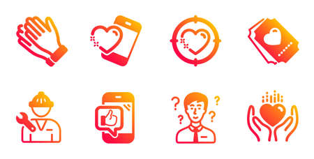 Clapping hands, Repairman and Heart target line icons set. Heart, Support consultant and Mobile like signs. Love ticket symbol. Clap, Repair service. People set. Vector