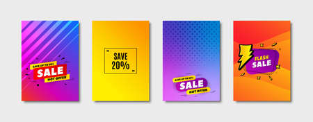 Save 20% off. Cover design, banner badge. Sale Discount offer price sign. Special offer symbol. Poster template. Sale, hot offer discount. Flyer or cover background. Coupon, banner design. Vector