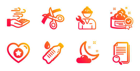 Heart, Cream and Wind energy line icons set. Night weather, Water bottle and Repairman signs. Scissors, Search file symbols. Star rating, Best lotion. Business set. Gradient heart icons set. Vector