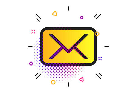 Mail icon. Halftone dots pattern. Envelope symbol. Message sign. Mail navigation button. Classic flat envelope icon. Vector