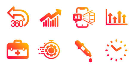 Seo timer, First aid and Upper arrows line icons set. 360 degrees, Augmented reality and Chemistry pipette signs. Demand curve, Time symbols. Cogwheel, Medicine case. Science set. Vector