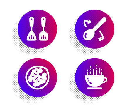 Cooking spoon, Cooking cutlery and Walnut icons simple set. Halftone dots button. Coffee cup sign. Cutlery, Kitchen accessories, Vegetarian food. Hot drink. Food and drink set. Vector