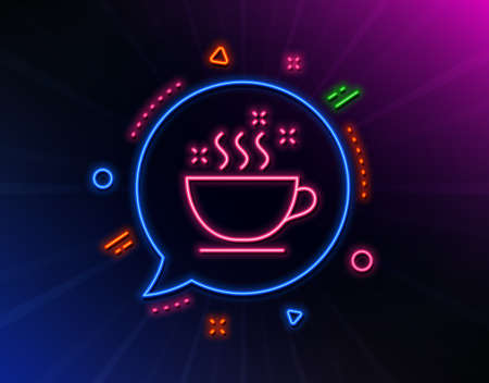 Coffee cup line icon. Neon laser lights. Hot cappuccino sign. Tea drink mug symbol. Glow laser speech bubble. Neon lights chat bubble. Banner badge with coffee cup icon. Vector Иллюстрация