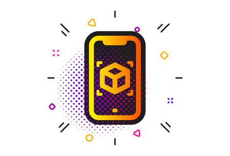 VR simulation sign. Halftone circles pattern. Augmented reality phone icon. 3d cube symbol. Classic flat augmented reality icon. Vector
