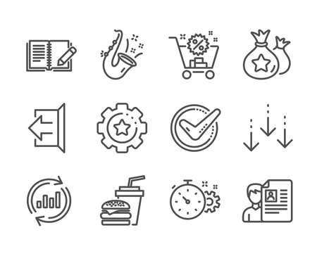Set of Business icons, such as Settings gear, Job interview, Cogwheel timer, Shopping cart, Hamburger, Scroll down, Feedback, Sign out, Update data, Confirmed, Jazz, Loyalty points. Vector Ilustrace