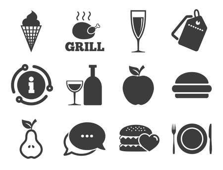 Grill, burger and ice cream signs. Discount offer tag, chat, info icon. Food, drink icons. Chicken, champagne and apple symbols. Classic style signs set. Vector Иллюстрация