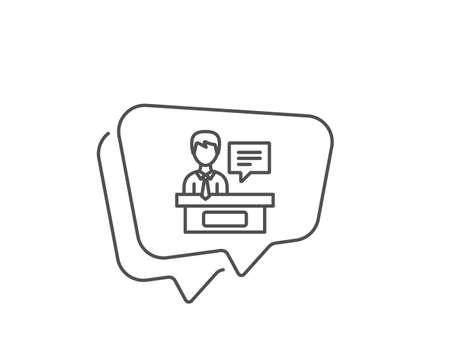 Exhibitors line icon. Chat bubble design. Information desk sign. Outline concept. Thin line exhibitors icon. Vector Ilustración de vector