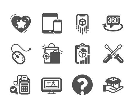 Set of Technology icons, such as Ranking star, Report, Hold box, Bill accounting, Online video, Question mark, Seo shopping, 360 degree, Computer mouse, Mobile devices, Augmented reality. Vector