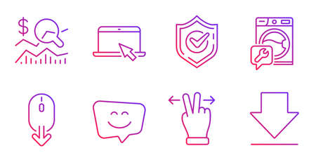 Confirmed, Portable computer and Washing machine line icons set. Touchscreen gesture, Check investment and Scroll down signs. Smile face, Downloading symbols. Gradient confirmed icon. Vector
