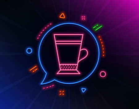 Latte coffee icon. Neon laser lights. Hot drink sign. Beverage symbol. Glow laser speech bubble. Neon lights chat bubble. Banner badge with latte icon. Vector